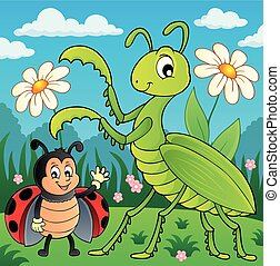 Meadow with praying mantis and ladybug - eps10 vector illustration.