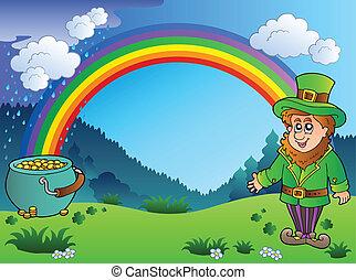 Meadow with rainbow and leprechaun - vector illustration.