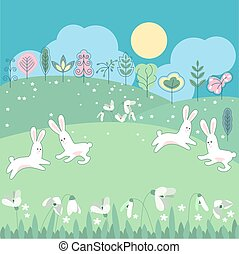Meadow with spring flowers and funny rabbits