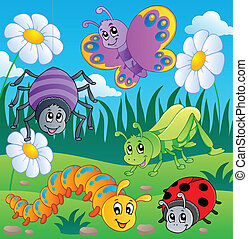 Meadow with various bugs theme 1 - vector illustration.