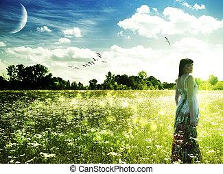 meadow., zomer, abstract, vrouwlijk, tijd, verticaal