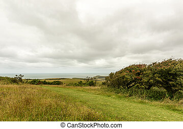 meadows and sea in Downs near Eastbourne - landscape with...