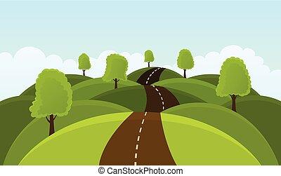 meadows., estrada, colinas, árvores