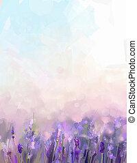 meadows., flores, pintura al óleo, lavanda