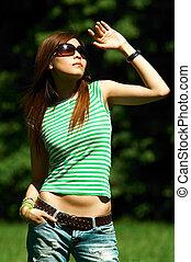 Meadows Girl - Beautiful asian young girl posing on meadow