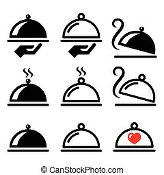 Meal, dinner, food platter icons