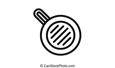 Meal fry pan icon animation best object on white background