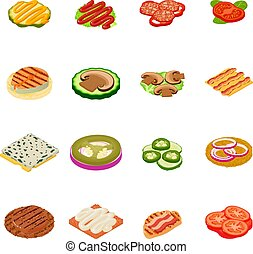 Meal icons set, isometric style