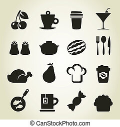 Meal icons9 - Set of icons of food. A vector illustration