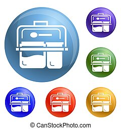 Meal lunch box icons set
