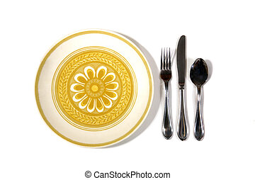 Knife fork and spoon silverware with a plate on a white background