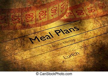 Meal plan grunge concept