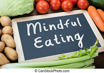 Meal Preparation Words On Slate With Vegetables