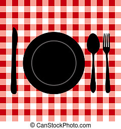 Meal Setting - Illustration of a meal setting on a red...