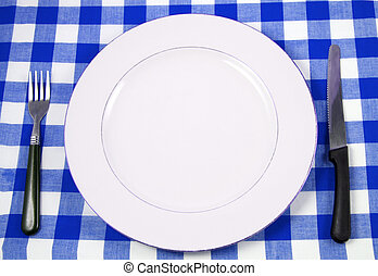 meal setting - waiting for meal with empty plate at...