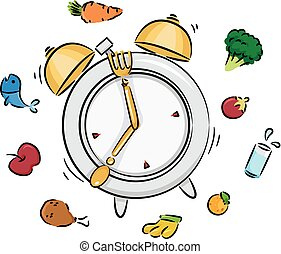 Meal Time Clock Illustration - Illustration of a Ringing...