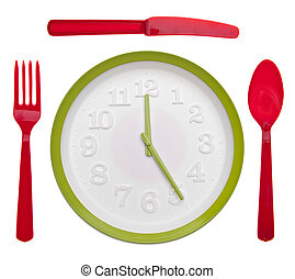 Meal Time Concept with Clock and Vibrant Silverware Isolated on White.