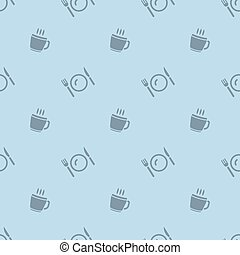 Meal Time Cup And Cutlery Seamless Silhouette Pattern