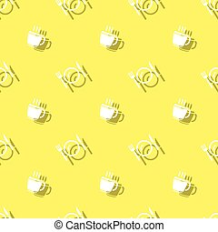 Meal Time Drink Cup And Cutlery Seamless Pattern