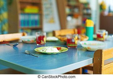 Meal time in kindergarten.