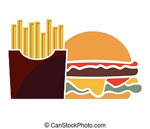 Meal - Vector illustration of the burger and fries