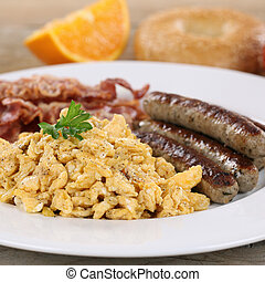 Meal with eggs, sausages and bacon