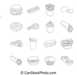 Meal,celebration, cafe, and other web icon in outline style.Hamburger, bun, cutlet, icons in set collection.