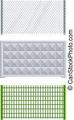 meallic, concreto, rete, recinto