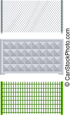 meallic net and concrete fence set of vector illustration EPS10. Transparent objects and opacity masks used for shadows and lights drawing