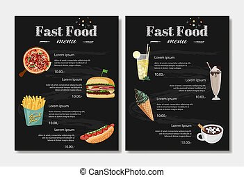 meals., 犬, セット, ピザ, illustration., 食物, メニュー, 速い, 手, milkshake, 暑い, ベクトル, バーガー, chocolate., 引かれる, カフェ