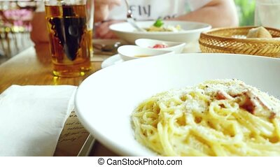 Meals food: pasta serving in the restaurant customers and...