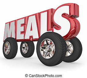 Meals Word on 3d Wheels Food Delivery Charity Service