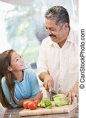 mealtime, grand-père, ensemble, petite-fille, préparer, repas