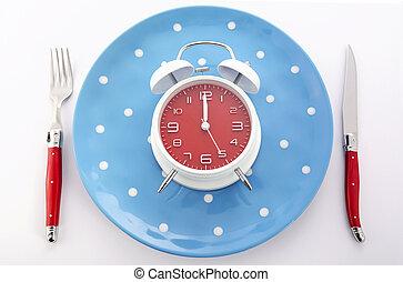 mealtime, horloge, couvert, table, reveil