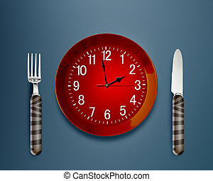 mealtime - Lunch time concept, Clock in plate, knife and...