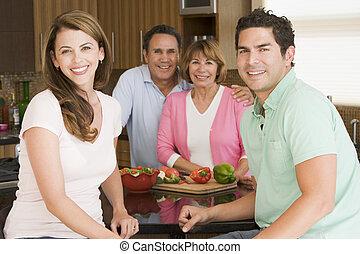 mealtime, préparer, ensemble, repas famille