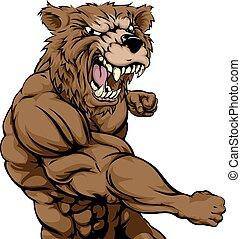 Mean bear sports mascot punching - A mean looking bear ...