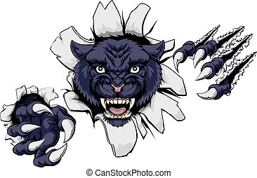 Mean Black Panther Mascot - A black panther cartoon sports...