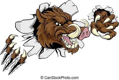 Mean Boar Warthog Razorback Mascot - A wild boar or...