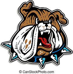 mean bulldog face with collar