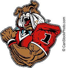 mean bulldog playing football