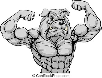 Mean Bulldog Sports Mascot - A tough mean strong bulldog...