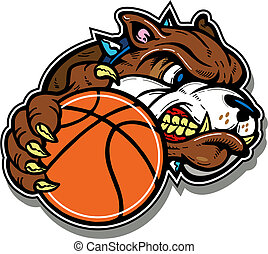 mean bulldog with basketball