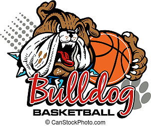 mean bulldog with basketball