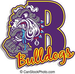mean bulldog with logo