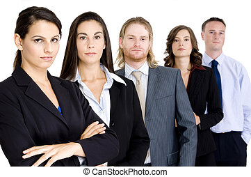 A business team look serious as though they mean business