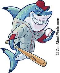 Mean Cartoon Baseball Shark - Vector cartoon clip art...