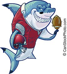 Mean Cartoon Football Shark - Vector cartoon clip art ...