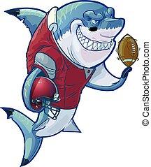 Mean Cartoon Football Shark - Vector cartoon clip art...