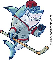 Mean Cartoon Hockey Shark - Vector cartoon clip art...